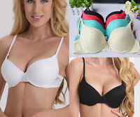 Gather Floral Lace Push up Bra Thick Padded Sexy Brassiere Sz 32-40 A B C D Cup