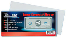 ULTRA PRO Large Currency Sleeve (100 Count) NEW for money notes bills dollars