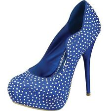 Sz 6.5 Blue Studded Shoes New Sexy Women Pump Platform Party Evening High Heels