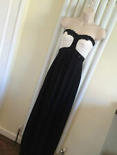 JANE NORMAN Stunning Black White Maxi  Strapless Dress Size 10 New with Tags