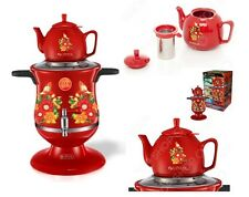Modern Russian Samovar ~FLOWERS~ Art Design Red Electric Samovar Kettle Set of 2