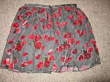 Bnwt river island jupe uk 6 noir rouge velours floral rose pattern dress up mesh