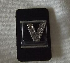 Necklace Bracelet Charm Bead Crystal Silver Tone Letter Initial Monogram V