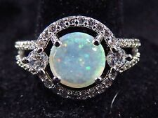 Silver 925 Filled Size 9 Ring White Lab Opal 8mm Cabochon & 3mm White Topaz
