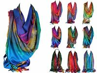 Floral Print Rainbow Colours Large Pashmina Feel Wrap Scarf Shawl Hijab