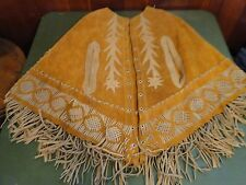Vintage HIPPIE BOHO Suede Leather Fringe Poncho Lace Up Appliqued Butterfly