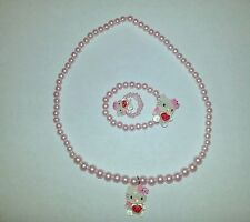 Pink Bling Hello Kitty Necklace+Bracelets+Ring 3 Pieces Per Set--Ship From U.S