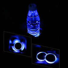 2X Solar Cup Holder Bottom Pad LED Light Cover Trim Atmosphere Lamp For Car Auto