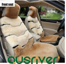 Premium Armor Australian Sheep Skin Car Short Wool Front Rear Seat Cover Set 5pc