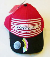 BUDWEISER® Beer Men's Red Black Brim-Mounted Bottle Opener Baseball Cap Hat NWT