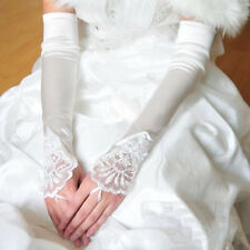 Women Long Wedding Lace Satin Bride Gloves Fingerless Party Bridal Dress US