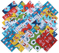 "SQ16 Robert Kaufman DR. SEUSS Precut 6.5"" Fabric Cotton Quilt Squares Dr Seuss"