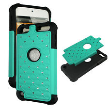 Green Turquise Hybrid Rhinestone silicon Apple iPod Touch 5th gen Cover Case