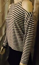 NWT BCBG MAXAZRIA Black White Stripe Open Shoulder Crew Neck Sweater - XS