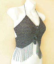 Gray Clubbing Bohemian Heavily Embroidered Formal Blouse Sexy Beaded Top - S & M