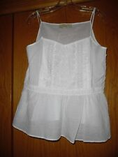 Ann Taylor LOFT White Crocheted  Strap Sleeve  Cami Top 10