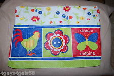 """Vinyl Tablecloth 52x70"""" RECTANGLE Flannel Back FLOWERS Square Border CHICKEN"""
