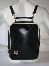 L.Credi Black Faux Leather Shoulder Bag/Backpack Festival