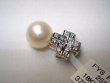18K diamond culture pearl pendant