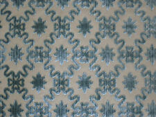 "ZOFFANY CURTAIN FABRIC DESIGN ""Firle Trellis"" 3.5 METRES AZURE CUT VELVET"