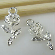 10848 50PCS Shiny Silver Tone Plants Rose Flower Pendant Charms