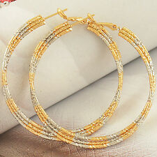 2 Tone Gold Plated Womens Multi Wire Hoop Basketball Wives Earrings 54mm Large