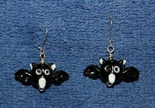 Black Bats, Glass Beaded and Sterling Silver Wire Earrings, Made in the USA