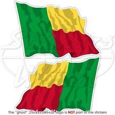 BENIN Wehende Flagge Ex Dahomey BENINISCHE Fahne Aufkleber, Sticker 75mm x2