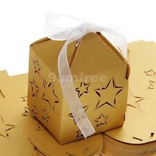 50x Star Baby Shower Wedding Favors XMAS Candy Gift Boxes w/Ribbons Gold