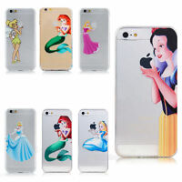 Clear Disney Princess Gel Case for Apple iPhone 6S 6 5S SE 5C + Screen Protector