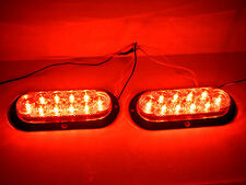 "2 TWO - 6"" Oval Red Flange Surface Mount Stop Turn Tail 10 LED  Trailer Light"