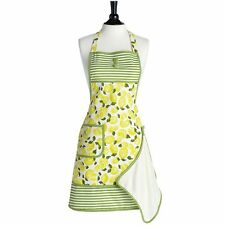 JESSIE STEELE Vintage Style Apron SUMMER LEMON w TOWEL 100% Cotton FRUIT YELLOW