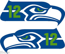 Seattle Seahawks 2 COLOR 12th MAN Decals Left and Right PAIR