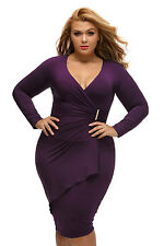 Plus Size Clothing 4X Plum Asymmetric Long Sleeve Sheath Dress SEXY US Sz 16 18