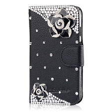 3D Bling Crystal Diamonds Pearl PU leather flip slots stand wallet case cover 19