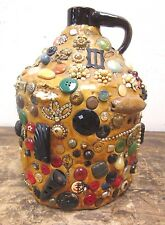 Antique MEDIUM Folk Art Stoneware Memory Jug Crock - Buttons, Toys, Jewelry L@@K