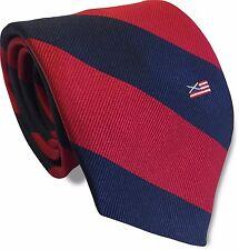 SILK scozzese AMERICANO Navy Blu E Rosso a Righe Da Uomo Cravatta Scozia Bandiera America