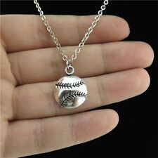 "18"" Chain Collar Short Softball Baseball Ball Pendant Sports Game Party Necklace"