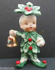 Vintage NAPCO Japan Rare Ornament Ceramic Holly Elf Pixie Tot Figure Bell Label
