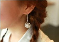 RF Hollow Silver Ball Dangle Hook Earrings Stud Earrings