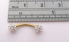 Gold Titanium Barbell Clear Crystal Balls VCH Clit Hood Ring 14 gauge 14g