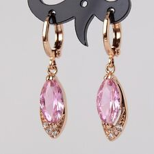 Gorgeous lady pink topaz earring 18k gold filled lady cool dangle earring