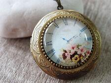 Flower Watch Clock Vintage Brass Round Picture Locket Pendant Statement Necklace