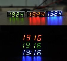 blue LED Electronic Clock Time + Thermometer + Digital Voltmeter for 12v 24V car