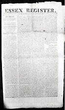 1814 ESSEX REGISTER MASSACHUSETTS NEWSPAPER WAR OF 1812