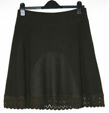 SONIA FORTUNA (UK10/EU38/IT42) BROWN VIRGIN WOOL MIX LINED LACE HEM SKIRT - NEW