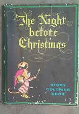Vintage '74 Oversize NIGHT BEFORE CHRISTMAS Story Coloring Book as is 17x22
