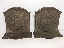 Vintage University Of Michigan Bronze Copper Metal Bookends Home Office Library