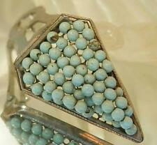 Nice Vintage 40's Blue Enamel Bead Deco Dress Clip 132AG6