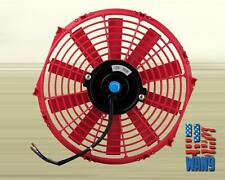 "10"" inch Universal Slim Fan Push Pull Electric Radiator Cooling 12V Red Kit"